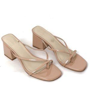 LPA x Raye Cara Sandal Block Heels Patent Nude 7